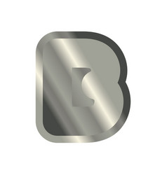 letter b steel font metal alphabet sign iron abc vector image vector image