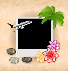 Photo frame with plane palm flowers sea pebbles vector image vector image