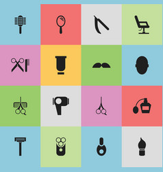 set of 16 editable barber icons includes symbols vector image