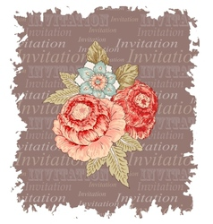 Vintage flowers invitation vector image vector image