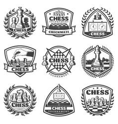 vintage monochrome chess game labels set vector image vector image