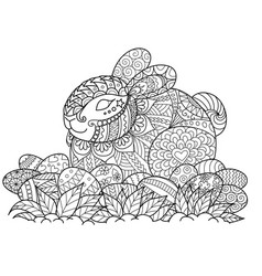 Easter bunny 2coloring book page vector