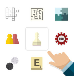 Flat icon entertainment set of poker pawn vector