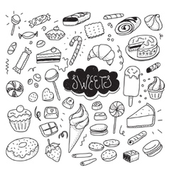 Hand drawn sweets and candies set doodles vector image