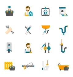 Plumber Flat Icons Set vector image