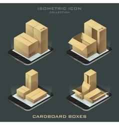 Set of dark isometric cardboard boxes vector
