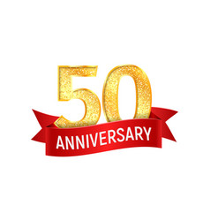 fiftieth year anniversary with red ribbon vector image vector image