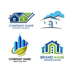 real estate home and property logo set vector image vector image