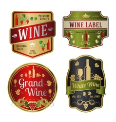 Set of colorful wine labels different shapes vector image