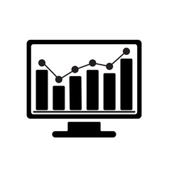 bar chart monitoring icon vector image vector image