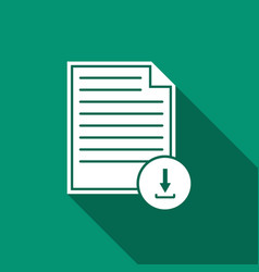 document with download sign icon with long shadow vector image vector image