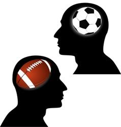 football vs soccer vector image vector image