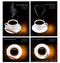 four design coffee backgrounds vector image