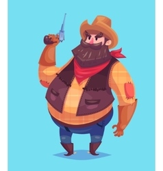 Funny of cowboy cartoon character vector image