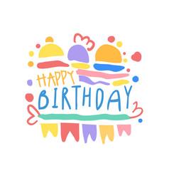 happy birthday logo colorful hand drawn vector image