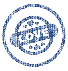 love stamp seal rounded fabric textured icon vector image
