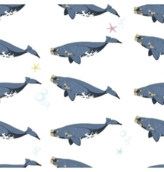 seamless pattern with whales under water vector image