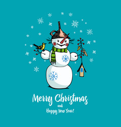 set of winter holidays snowman in different vector image