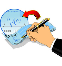 signature on a bank check vector image
