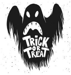 Trick or treat scary ghost on white background vector