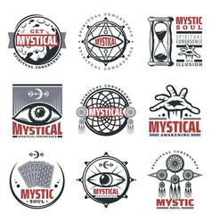 vintage mystical spiritual emblems set vector image
