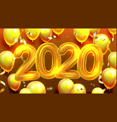 2020 decorated balloons banner vector