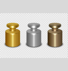 3d realistic metal golden silver bronze vector