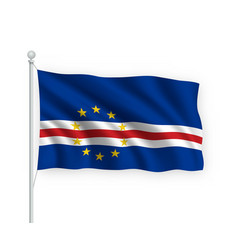 3d waving flag cabo verde isolated on white vector