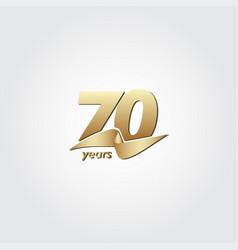 70 years anniversary celebration gold ribbon vector
