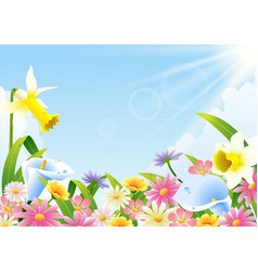 Abundance blooming flowers at spring time vector