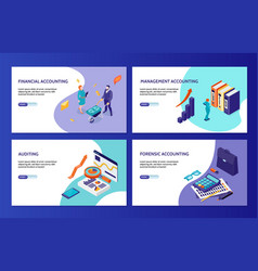 Accounting isometric banners vector