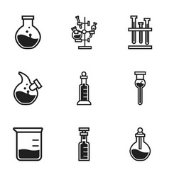 biology flask icon set simple style vector image