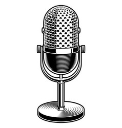 black and white of microphone vector image