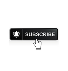 Black subscribe button with mouse pointer and vector