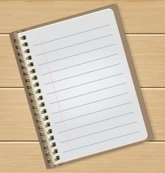 Blank Notebook On Wooden Table Business Concept vector image