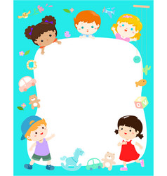 Blank template cute multiracial kids poster design vector