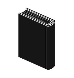 blue standing book icon in black style isolated on vector image