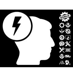 Brain Electricity Icon with Tools Bonus vector