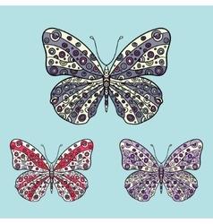 Butterflies in zentagle style vector