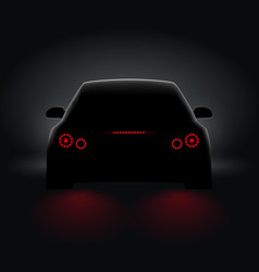 car back view night light rear led realistic view vector image