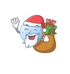 Cartoon design blue moon santa with christmas gift vector