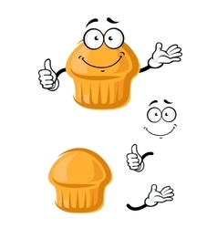 Cartoon sweet muffin with thumb up vector image