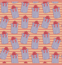 christmas seamless background pattern of gift vector image