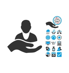 Client Care Hand Flat Icon With Bonus vector image