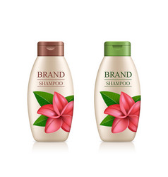 Cream shampoo product bottle with colorful cap vector