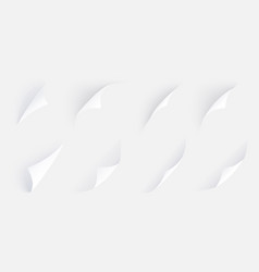 curled corner set with different angles shadows vector image