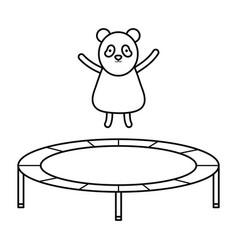 Cute bear panda in elastic trampoline character vector