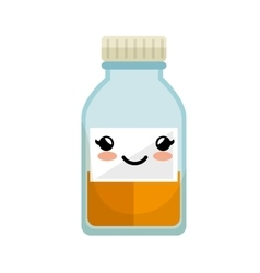 cute kawaii medicine bottle icon vector image