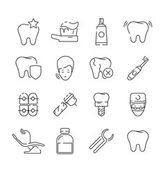 dental icons medical protection teeth removal vector image