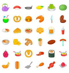 dinner icons set cartoon style vector image